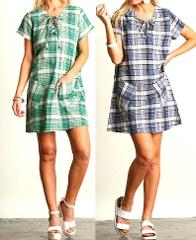 UMGEE Plaid Print Boho Shift Dress with Pockets - NWT