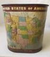 Vintage Weibro United States of America Map Trash Can Embossed...