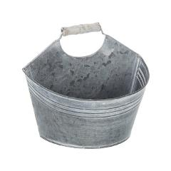 Gray Washed Metal Wall Bucket with Handle.