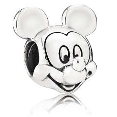 Pandora Mickey Mouse Solid Sterling Silver Charm + PANDORA POUCH