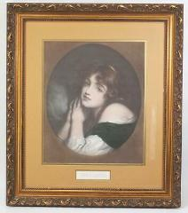 Vintage Framed Lithograph Print Young Woman Innocence Victoria...