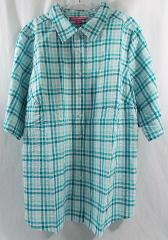 Plus Size Petite Seersucker Bigshirt Button Tab SS Check Teal...