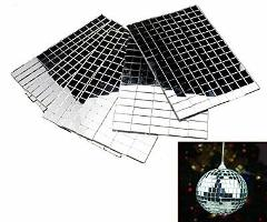 Self-Adhesive REAL Glass Craft Mini Square & Round Mirrors Mos...