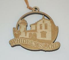 Whidbey Island Lighthouse Ornament Engraved Birch Wood New Was...