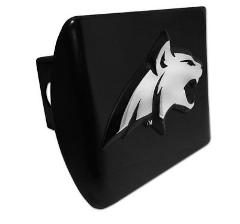 Montana State Bobcat Emblem on Black Metal Hitch Cover