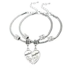 Mother Daughter Double Bracelet Set Heart Shaped Metal Anti-Ta...
