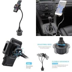 Kuelor Adjustable Car Phone mount, Long Arm Cell Cup Holder wi...