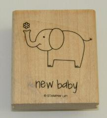 New Baby Rubber Stamp Elephant Stampin Up Wood Mounted 2.25 In...