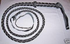 6 foot 4 plait BLACK INDIANA Jones Real Leather BULLWHIP with...
