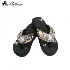 Montana West Flip Flops Wedged Sandals Camo Collection Concho ...