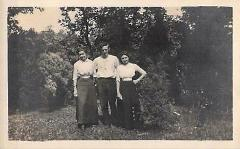 RPPC two ladies and man threesome woods vintage cyko photograp...