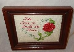 New Take Time Smell Roses Framed Picture Handmade Finished Cro...