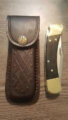Brown textured leather knife sheath - Holds a Buck 110. 5
