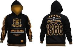BUFFALO SOLDIER Gold Black Hoodie Jacket US ARMY Pullover Hood...