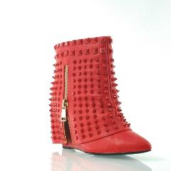 Battle Red Leather Studded Skirt Slip On Wedge Heel Ankle Boot...