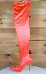 Mac J Satin Bright Neon Orange Stocking High Heel Thigh High B...