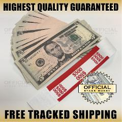 100x $5 Bills Top Stack For Film, Movies, TV, Videos Play Stag...