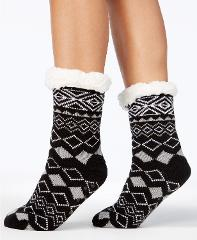 Charter Club Holiday Fleece Gripper Slipper Socks Black Pattern