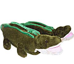 Happy Feet Stuffed Alligator Plush Novelty Slippers Unisex L W...
