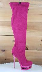 Irena 44 Fuchsia Pink High Heel Platform Stretch Stocking Thig...