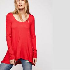 FREE PEOPLE January Ribbed Tee Top Long Sleeves Red Large L $4...