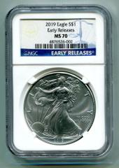 2019 AMERICAN SILVER EAGLE NGC MS70 CLASSIC EARLY RELEASES BLU...
