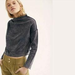 Free People Cotton Oh Marley Pullover Washed Black Small S $88...
