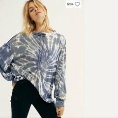 Free People NWT We The Free Best Catch Tie Dye Pullover Sweats...