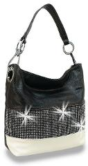 Rhinestone Bling Accented Banded Fashion Hobo Handbag Purse Ba...
