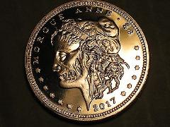 1 COPPER Oz Coin Round Morgue Anne Morgan silver Dollar Zombuc...