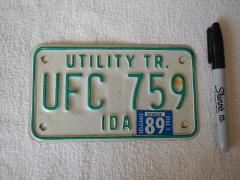 IDAHO UTILITY TRAILER LICENSE PLATE # UFC 759 WHITE WITH GREEN...