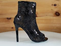 Mac J Black Sequin Mesh Open Toe Ankle Boot - 4