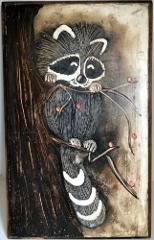 Raccoon Wood Plaque Signed 18
