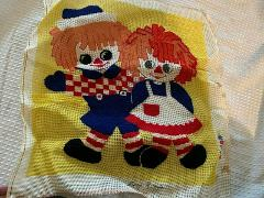 vintage Raggedy Ann & Andy Doll cross stitchery kit incomplete...