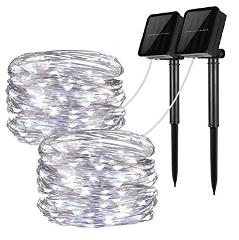 Solar String Lights, 2 Pack 100 LED Solar Fairy Lights 33 feet...