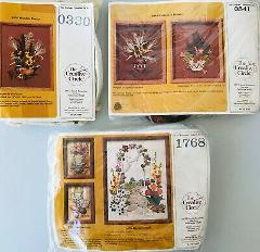 3 Embroidery Kits by Creative Circle Autumn Colors Floral Stil...