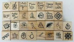 30 Mini Rubber Stamps from JRL Variety of Pictures Objects Sym...