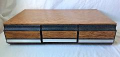 Vintage Woodgrain 3 Drawer VHS Storage Cabinet Hold 36 VCR Vid...