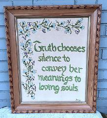 Truth Chooses Silence Souls 20x24 Satin Stitch Floral VTG 70's...