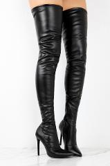 Slay Black Pu Leatherette Fitted Thigh High Pointy Toe High He...