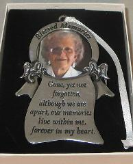 Blessed Memories Photo Ornament Memorial Angels Christmas Pewt...