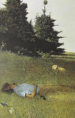 Vintage Art Andrew Wyeth 1961 Distant Thunder Field Nap Dog Tr...
