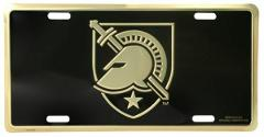 West Point Black Knight on Black Metal License Plate