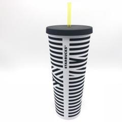 Starbucks Black White Stripe Acrylic Cold Cup Tumbler 24 oz Venti