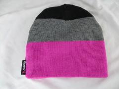 Gerry Pink, Gray & Black Acrylic Winter Hat: One Size