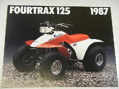 87 HONDA FOURTRAX 125 TRX125 NOS OEM DEALER'S SALES LITERATURE...