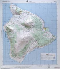 Hilo USGS Regional Raised Relief Map in the state of Hawaii