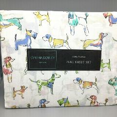 4pc Cynthia Rowley Watercolor Dog FULL Sheet Set Colorful Dach...