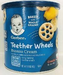 Gerber Banana Creme Teether Wheels Puffed Grain Snacks 1.48 oz