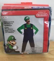 Luigi Costume 2xl Men's New Halloween Set Cosplay Nintendo Sup...